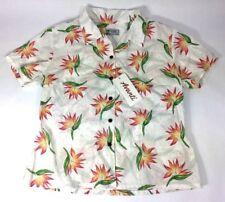Original AVANTI Hawaii Aloha Hawaiian Shirt Button Floral Bird of Paradise L NWT