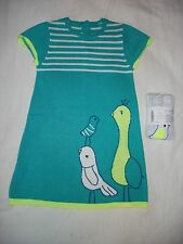 NWT Gymboree Happy Bluebird teal knit dress with bird tights outfit size 3T