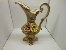 Large Capodimonte pitcher/vase Vintage Great Condition With Flowers