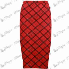 Calf Length Viscose Check Casual Skirts for Women
