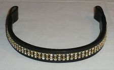 Ideal Equestrian Horse Size Leather Bling Brow Band With Brass Accents Settings