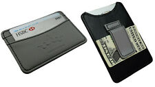Belt Money Clip Mens Mini Wallet Black Grey Faux Leather Cash 3 Card Holder 900H