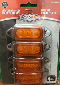 """RoadPro 4-Pack RP-1445A/4P 1.75""""x1"""" LED Clearance/Marker Lights, Amber New"""