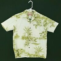 RJC Mens Small Short Sleeve Button-Front Floral Palm Tropical Hawaiian Shirt USA
