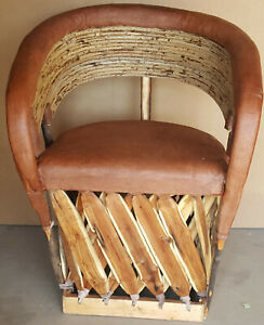 Mexican Equipale Cushioned Twig Back and Leather  Chair 031T