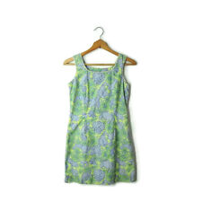 Lilly Pulitzer size 2 shift dress green blue polka dot lobster print lined XS