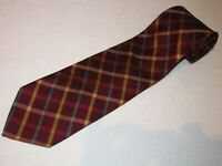 New Jos A Bank Tie Maroon Gold Plaids Stripe Luxury Designer Necktie Silk Mens