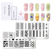 4Pcs/Set NICOLE DIARY Lace Flower Nail Stamping Plates Templates Stamper Scraper