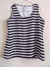 Banana Republic Womens Size Medium Tank Top Black White Striped Beads Sleeveless