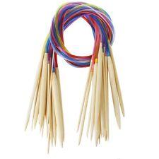 18 Sizes Circular Bamboo Knitting Needles Set +Colored Tube 2.0mm-10.0mm 80cm LW