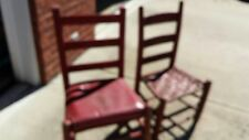~~~~Antique 2 Wood Red Child's Chairs Woven Bottoms ~  Smaller Size~Vintage~OLD