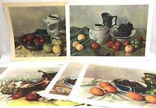 Lot of 6 Still Life Artist Hank Bos 1960 Prints Donald Art Co Fruit Bowl Kitchen