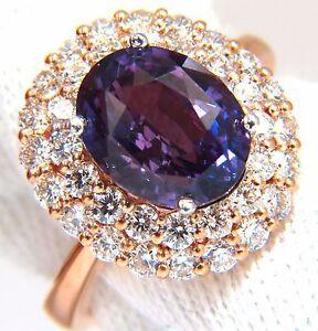 GIA Certified 6.41ct Natural Vivid purple sapphire diamonds ring+