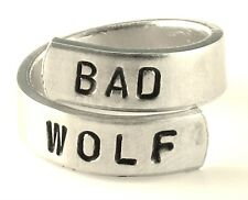 Bad Wolf - Inspired by Doctor Who - Adjustable Aluminum Wrap Ring