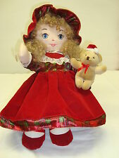 """18"""" Cloth DOLL*PLAYS CHRISTMAS MUSIC*Blue Eyes*Blond Hair*Collectible*FREE SHIP*"""