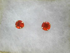 14k YG 5mm Orange Simulated Sapphire Stud Earrings Prong Set