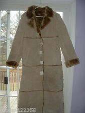 New Brandon Thomas Full Length Leather Coat, Size Med  Faux Fur Lined