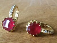FH Plum UK red round ruby sim diamond 18k yellow gold gf French hoop earrings