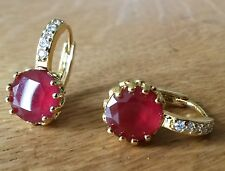 FH09 Plum UK ruby & white sapphires 18k yellow gold gf French hoop earrings BOXD