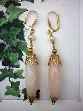 Victorian Cameo orecchini tono oro perle e quarzo rosa