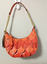 Coach Poppy Coral Orange Leather Small Fringe Bag 22484 Limited Edition