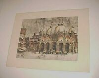 """R. Angus """"The Piazza San Marco - After Canaletto"""" Venice Signed Print 24"""" x 18"""""""