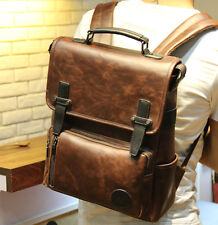 Men's Travel Rucksack Shoulder Briefcase PU Leather Laptop School Bag Backpack