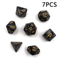 7 PIECE 4/6/8/10/12/20/% Black Polyhedral Dice Suit For DND RPG MTG Board Game A