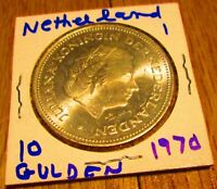 Netherlands 10 Gulden Silver Coin 1970 25th Anniversary of Liberation Juliana