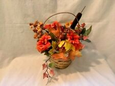Fall Artificial Flower Basket Centerpiece Orange Yellow Red flowers and berries