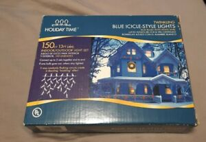 NIB Holiday Time Twinkling 150 Blue Icicle Lights Indoor/Outdoor Light Set
