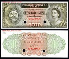 BELIZE 10 DOLLARS (P36sct) SPECIMEN COLOUR TRIAL QEII UNC