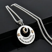 """Hot Personalised """"I LOVE YOU TO THE MOON AND BACK """" Necklace Pendant Sliver Gift"""