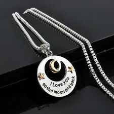 """""""I LOVE YOU TO THE MOON AND BACK"""" Alloy Necklace Pendant Long Chain Silver Gift"""