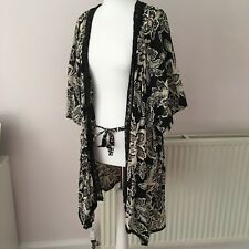 Anthropologie Eloise Black White Red Floral Long Lace Belted Kimono Coverup XS S