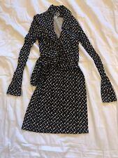 Diane von Furstenberg DVF Wrap Dress Black White Pattern Jeanne Silk 4 Vintage