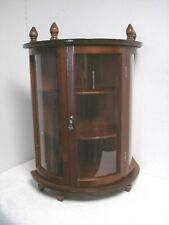 Vtg Curved plastic Wood Curio Cabinet wall mount/Table Wall Shelf Display Case
