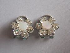Very Sweet & Pretty Abalone Shell & Diamante Flower Shaped 50's Clip On Earrings
