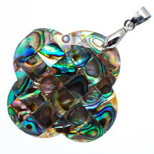 """Mother of Pearl Natural Abalone Sea Shell Flower Pendant 1 1/2"""" Jewelry #08-Z"""
