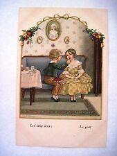 """Vintage """"Pauli Ebner"""" Postcard w/ Boy Feeding a Girl a Strawberry *"""