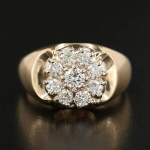Diamonds & 14K Gold Estate Men's Ring sz 9.5