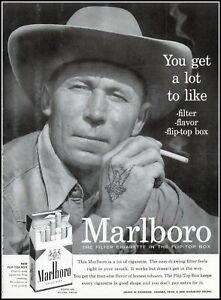 1956 Marlboro cigarettes man hat flip top box vintage photo Print Ad  (ADL9)
