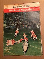 MAGAZINE ARTICLE: WEEKEND MAGAZINE, NIGHT CFL FOOTBALL OTT/MTL CVR, OCT 5, 1963