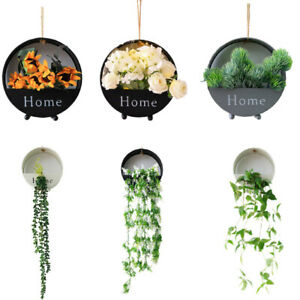 Wall Hanging Artificial Plants Pot Flower Basket with Fairy Light for Home Decor