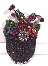 DOROTHY BAUER BASKET OF FLOWERS RARE BROOCH (Austrian Crystals)
