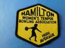 HAMILTON WOMEN'S 10 PIN BOWLING HIGH AVERAGE AWARD VINTAGE PATCH ONTARIO