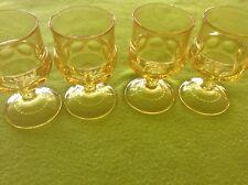 Yellow Set 4 Indiana  Glass Thumb Print 4 Oz Stem Ware Bar/ Juice Vintage NICE!