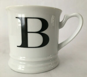 """Williams-Sonoma Monogrammed Mug Cup Letter """"B"""" White Black & White Excellent"""