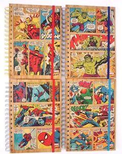 "Marvel SpiderMan Hulk Iron Man Captain America Spiral Hardcover Notebook 8.5""X6"""