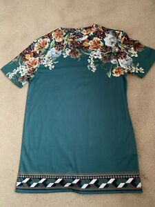 River Island Mens Green Muscle Fit T-shirt Floral Print Short Sleeve Size S New